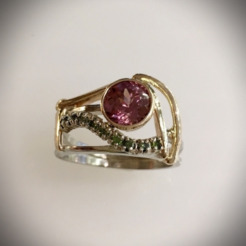 Rose Zircon, Green Diamond Ladies Ring - $1255.00