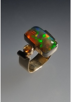 Ethiopian Opal and Citrine Ladies Ring - $750