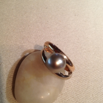 18K Rose Gold & White Gold South Sea Pearl Ladies Ring - $1,485