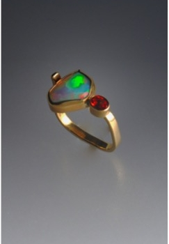 Ethiopian Opal and Spessartine Garnet Ladies Ring - $875