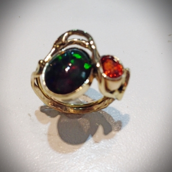 Ethiopian Opal and Spessartine Garnet Ladies Ring - $1,219