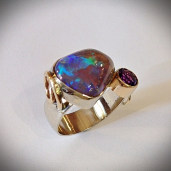 Australian Opal and Amethyst Ladies Ring - $1,250