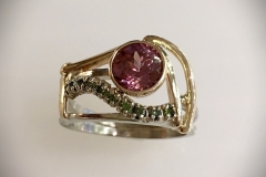 Rose Zircon, Green Diamond Ladies Ring - $1255.00