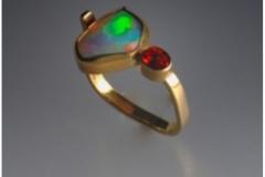 Ethiopian Opal and Spessartine Garnet Ladies Ring - $875