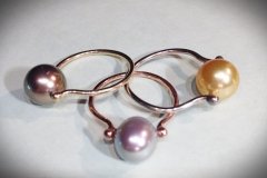 Three Pearl 14K Gold Ladies Rings - $300 each