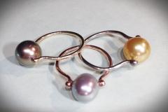Three Pearl 14K Gold Ladies Rings - $300 each