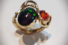 Ethiopian Opal and Spessartine Garnet Ladies Ring - $1,219
